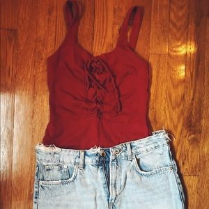 Red Lace-Up Bodysuit